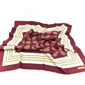 "CARTIER: Burgundy, ""Double C"" Logo Silk Scarf (mv)"